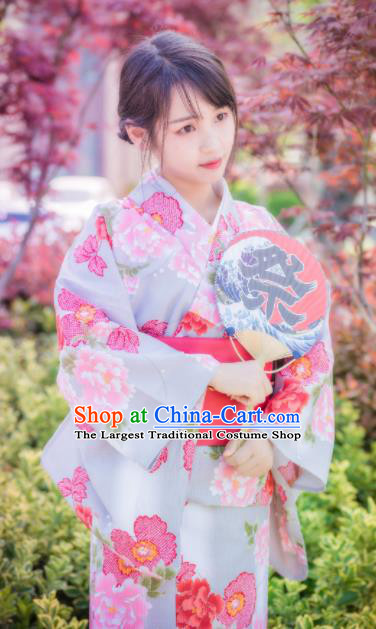 Japanese Traditional Costume Geisha Printing Peony Furisode Kimono Asian Japan Yukata Dress for Women