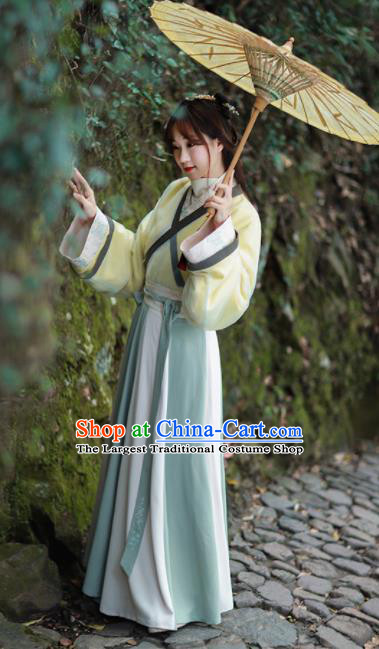 Chinese Ancient Han Dynasty Embroidered Historical Costume Traditional Young Lady Hanfu Dress for Women