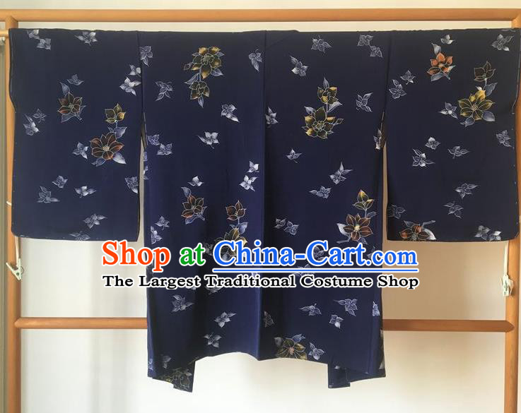 Traditional Japanese Samurai Kimono Printing Navy Haori Coat Asian Japan Handmade Warrior Yukata Costume for Men