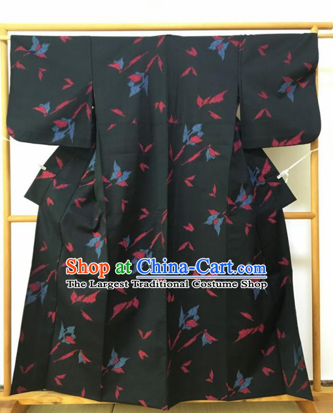Japanese Traditional Costume Classical Printing Butterfly Black Furisode Kimono Asian Japan Geisha Yukata Dress for Women