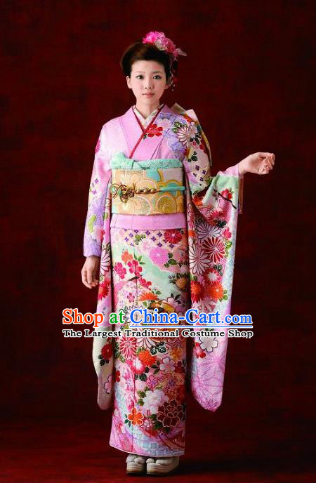 Japanese Traditional Printing Chrysanthemum Pink Furisode Kimono Asian Japan Costume Geisha Yukata Dress for Women