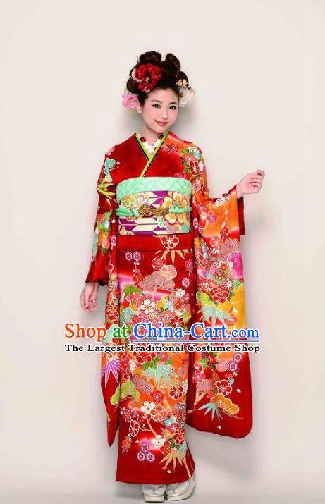 Japanese Traditional Printing Peony Red Furisode Kimono Asian Japan Costume Geisha Yukata Dress for Women