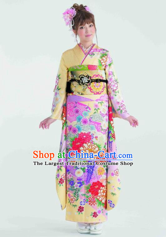 Japanese Traditional Printing Peony Yellow Furisode Kimono Asian Japan Costume Geisha Yukata Dress for Women