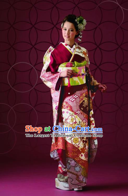 Japanese Traditional Printing Iromuji Wine Red Furisode Kimono Asian Japan Costume Geisha Yukata Dress for Women