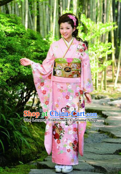 Japanese Traditional Printing Iromuji Pink Furisode Kimono Asian Japan Costume Geisha Yukata Dress for Women