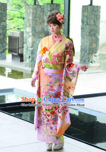 Japanese Traditional Printing Peony Iromuji Yellow Furisode Kimono Asian Japan Costume Geisha Yukata Dress for Women