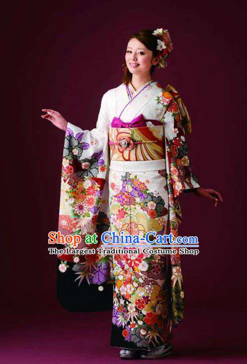 Japanese Traditional Printing Iromuji White Furisode Kimono Asian Japan Costume Geisha Yukata Dress for Women