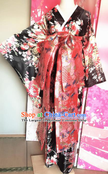 Japanese Traditional Courtesan Printing Black Furisode Kimono Asian Japan Costume Geisha Yukata Dress for Women