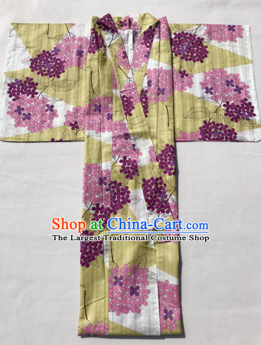 Traditional Japanese Classical Printing Hydrangea Yellow Kimono Asian Japan Costume Geisha Yukata Dress for Women