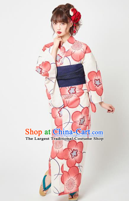 Japanese Classical Printing Red Plum Blossom Kimono Asian Japan Traditional Costume Geisha Yukata Dress for Women