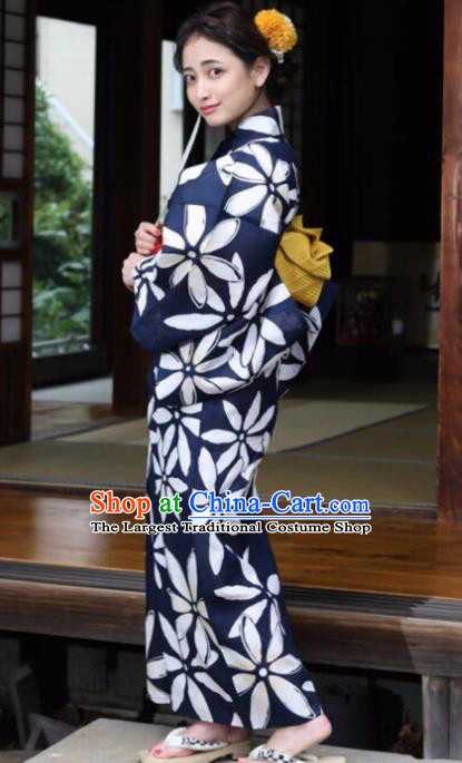 Japanese Traditional Classical Printing Navy Kimono Asian Japan Costume Geisha Yukata Dress for Women