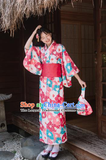 Traditional Japanese Classical Printing Camellia Rosy Kimono Asian Japan Costume Geisha Yukata Dress for Women