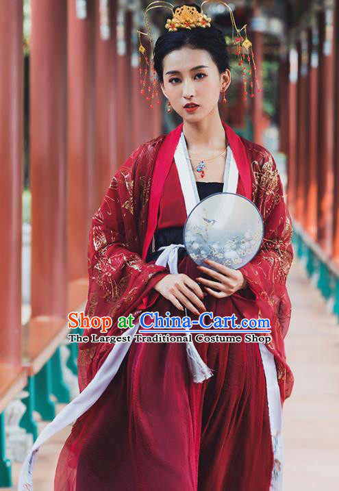 Ancient Chinese Tang Dynasty Wedding Historical Costume Traditional Court Princess Red Hanfu Dress for Women