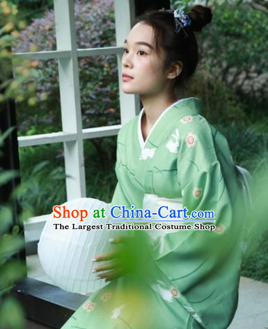 Japanese Classical Printing Rabbits Green Kimono Asian Japan Traditional Costume Geisha Yukata Dress for Women