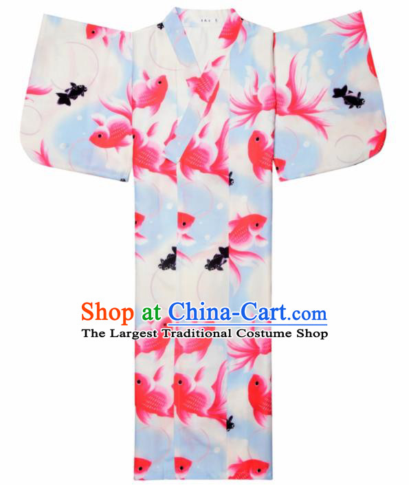 Japanese Classical Printing Goldfish Kimono Asian Japan Traditional Costume Geisha Yukata Dress for Women