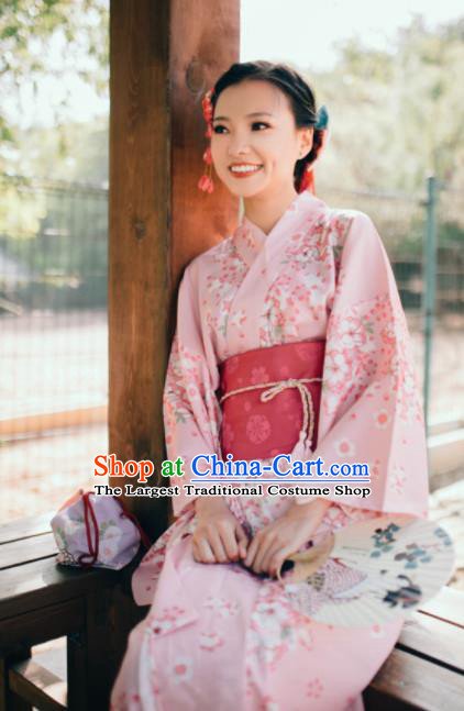 Japanese Classical Printing Sakura Pink Kimono Asian Japan Traditional Costume Geisha Yukata Dress for Women