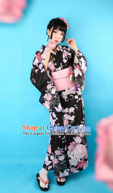 Japanese Classical Printing Peony Black Kimono Asian Japan Traditional Costume Geisha Yukata Dress for Women