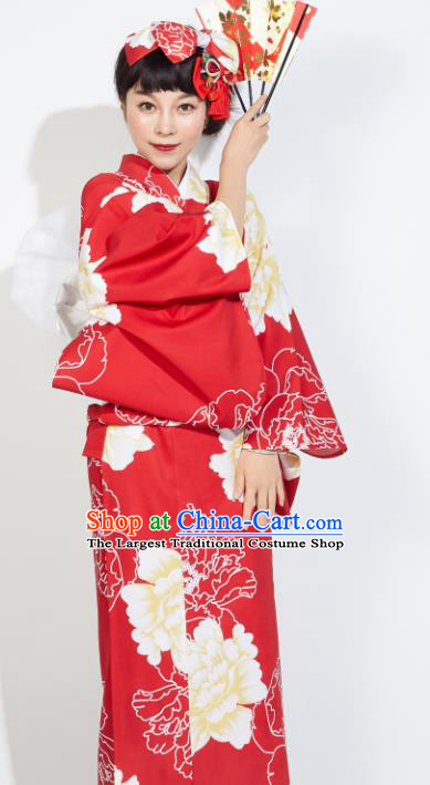 Japanese Classical Printing Peony Red Yukata Dress Asian Japan Traditional Costume Geisha Furisode Kimono for Women