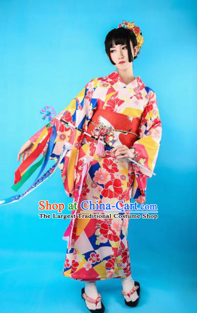 Japanese Classical Printing Sakura Kimono Asian Japan Traditional Costume Geisha Yukata Dress for Women
