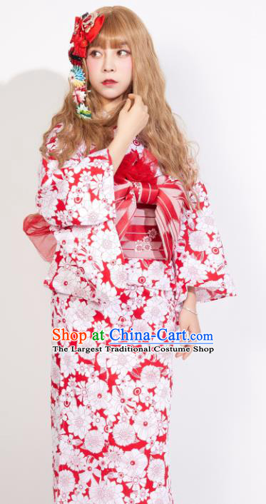 Japanese Classical Printing Yukata Dress Asian Japan Traditional Costume Geisha Kimono for Women
