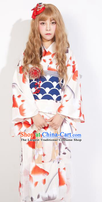 Japanese Classical Printing Red Goldfish Yukata Dress Asian Japan Traditional Costume Geisha Kimono for Women
