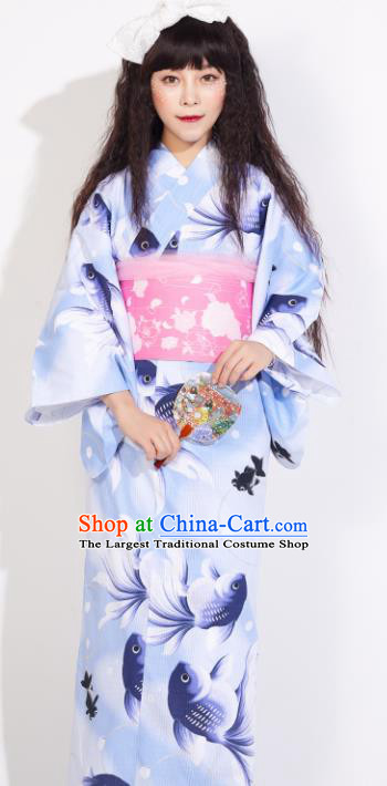 Japanese Classical Printing Fish Blue Yukata Dress Asian Japan Traditional Costume Geisha Kimono for Women