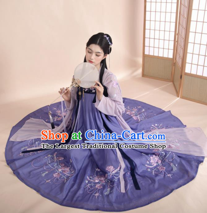 Ancient Chinese Tang Dynasty Princess Historical Costume Traditional Court Dance Embroidered Purple Hanfu Dress for Women