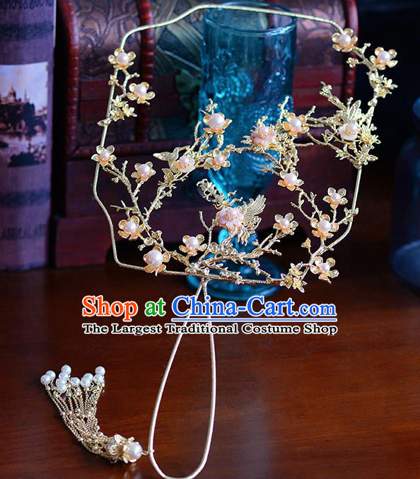 Traditional Chinese Ancient Crane Palace Fans Handmade Wedding Accessories Fans for Women