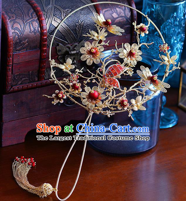 Traditional Chinese Ancient Dragonfly Palace Fans Handmade Wedding Accessories Fans for Women