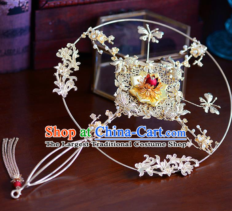 Traditional Chinese Ancient Golden Palace Fans Handmade Wedding Accessories Fans for Women