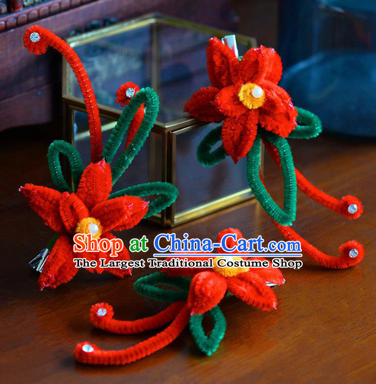 Traditional Chinese Ancient Palace Red Velvet Flower Hair Claws Hairpins Handmade Wedding Hair Accessories for Women