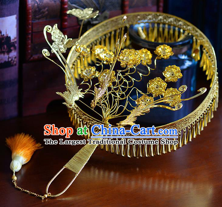 Traditional Chinese Ancient Golden Tassel Palace Fans Handmade Wedding Accessories Fans for Women