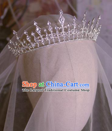 Handmade Wedding Hair Accessories Baroque Bride Crystal Royal Crown for Women