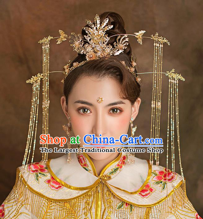 Traditional Chinese Handmade Wedding Hair Accessories Ancient Bride Golden Phoenix Coronet Tassel Hairpins for Women