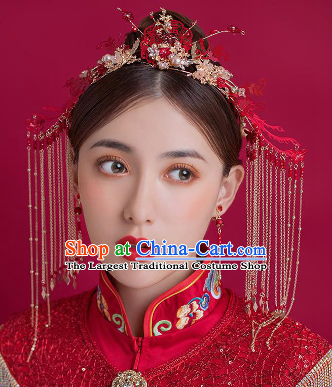 Traditional Chinese Ancient Bride Tassel Hairpins Red Phoenix Coronet Handmade Wedding Hair Accessories for Women