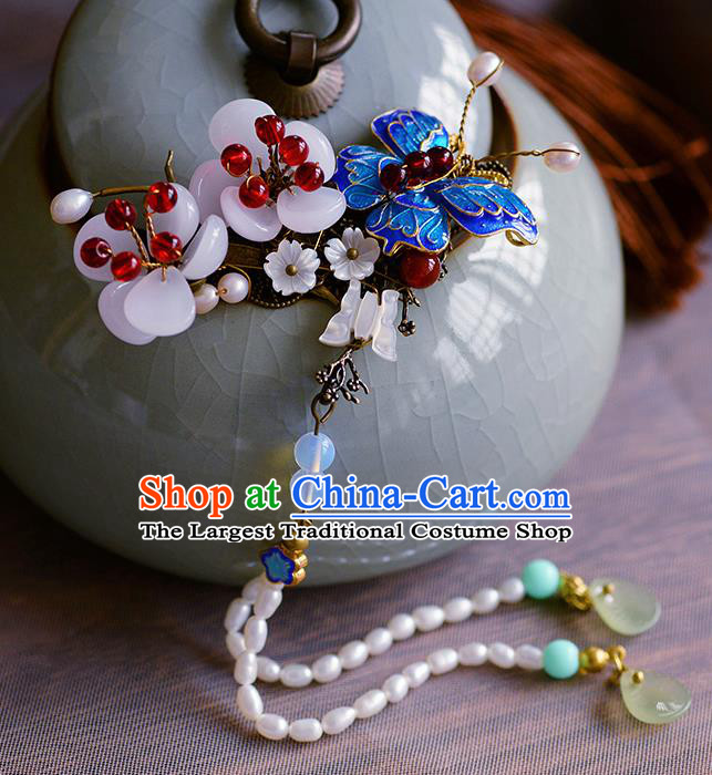 Traditional Chinese Ancient Palace Cloisonne Butterfly Hair Claw Hairpins Handmade Wedding Hair Accessories for Women