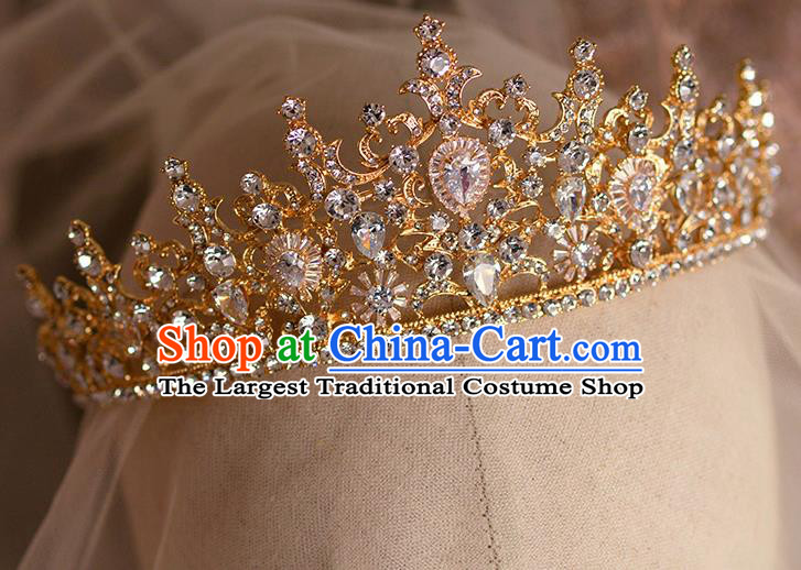 Handmade Wedding Hair Accessories Baroque Bride Crystal Golden Royal Crown for Women