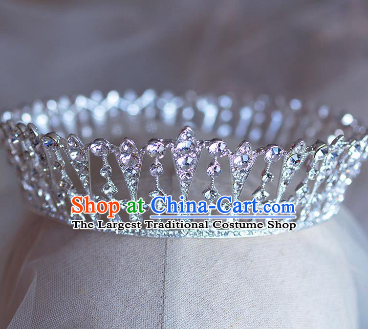 Handmade Wedding Hair Accessories Baroque Bride Crystal Round Royal Crown for Women
