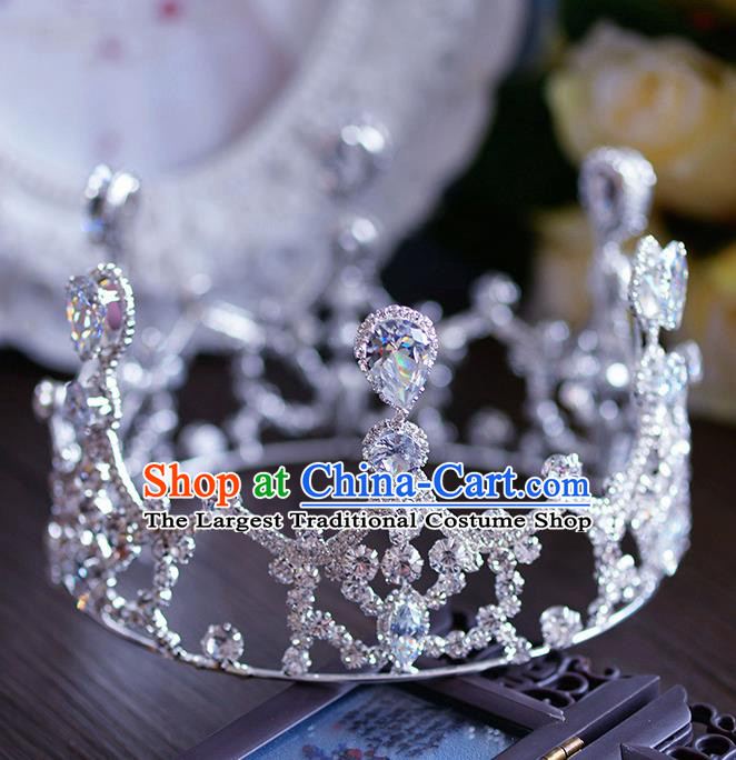 Handmade Wedding Hair Accessories Baroque Queen Crystal Round Royal Crown for Women