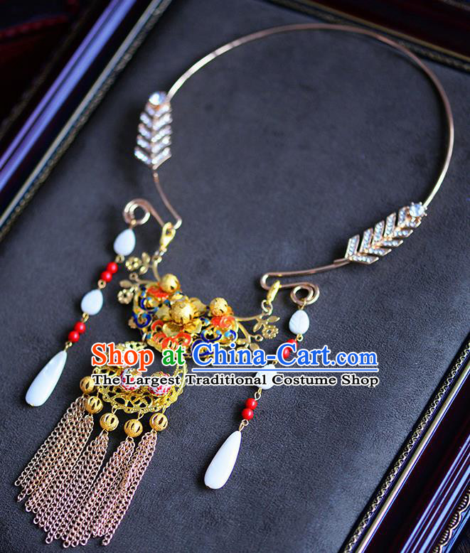 Traditional Chinese Ancient Palace Tassel Necklace Handmade Wedding Jewelry Accessories for Women