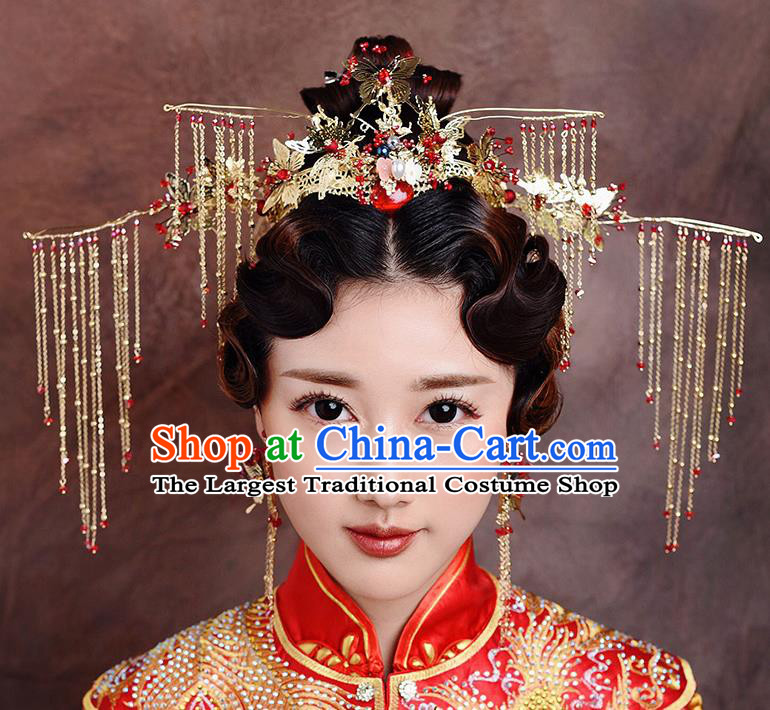 Traditional Chinese Ancient Bride Hairpins Golden Butterfly Tassel Phoenix Coronet Handmade Wedding Hair Accessories for Women