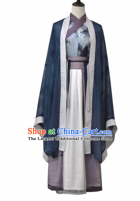 Ancient Chinese Jin Dynasty Princess Historical Costume Traditional Swordswoman Hanfu Dress for Women