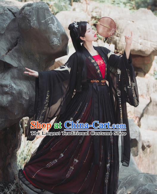 Chinese Tang Dynasty Historical Costume Traditional Ancient Swordswoman Black Hanfu Dress for Women
