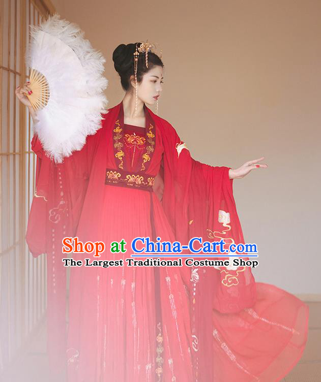 Chinese Tang Dynasty Wedding Historical Costume Traditional Ancient Peri Bride Red Hanfu Dress for Women