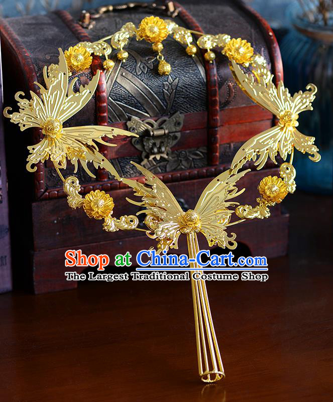 Traditional Chinese Ancient Palace Fans Handmade Wedding Accessories Golden Butterfly Fans for Women