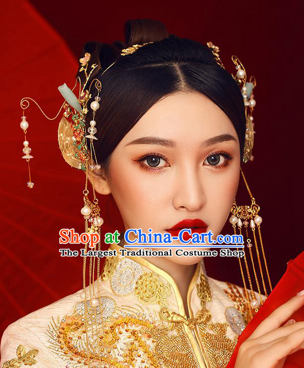 Traditional Chinese Ancient Hanfu Jade Hair Comb Bride Hairpins Handmade Wedding Hair Accessories for Women