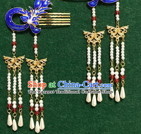 Traditional Chinese Ancient Palace Cloisonne Hair Clip Hairpins Handmade Wedding Hair Accessories for Women