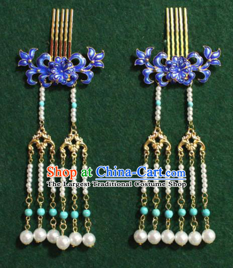 Traditional Chinese Ancient Palace Cloisonne Chrysanthemum Hair Comb Tassel Hairpins Handmade Wedding Hair Accessories for Women