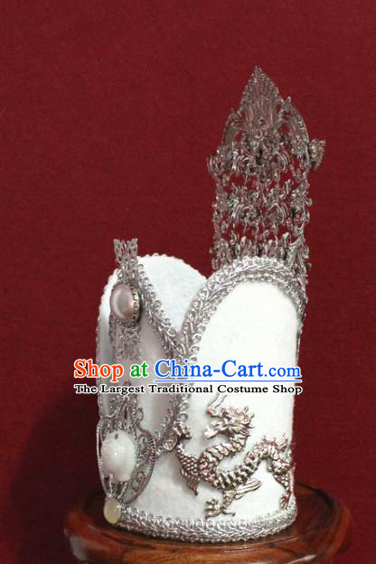 Traditional Chinese Ancient Prince White Hairdo Crown Handmade Nobility Childe Hat Swordsman Hair Accessories for Men