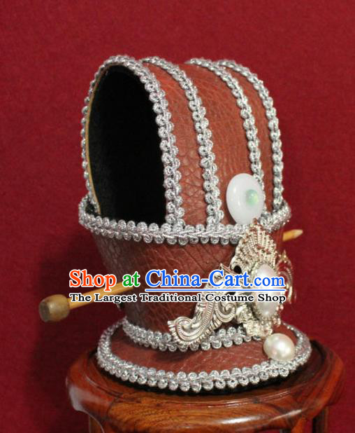 Traditional Chinese Ancient Prince Orange Hairdo Crown Handmade Nobility Childe Hat Swordsman Hair Accessories for Men